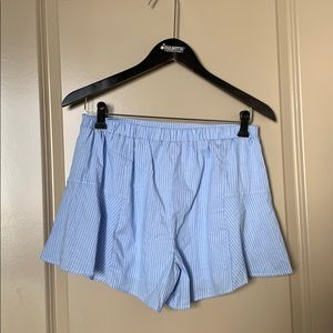 NWT Francesca's blue and white striped shorts